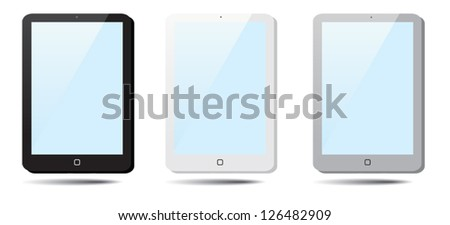 Set of speech bubbles Tablet Pad. - stock vector