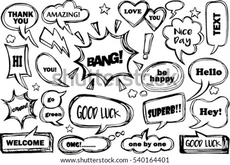 set of speech bubbles with dialog words: awesome, hello,love, pretty, like, thank you, welcome, nice,amazing, good luck
