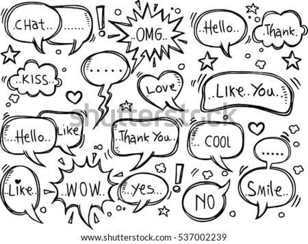 set of speech bubbles with dialog words: Hello, Love, chat, like, thank you, cool.