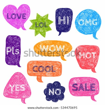 Set of speech color bubbles for text. Bright hand drawn vector illustration.