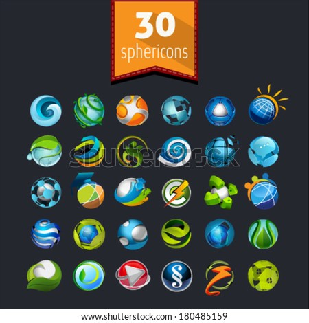 Set of spherical icons for web and mobile - stock vector