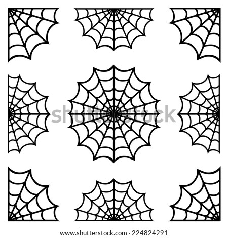 set of spiderweb black isolated on white background.black spider web halloween.vector - stock vector