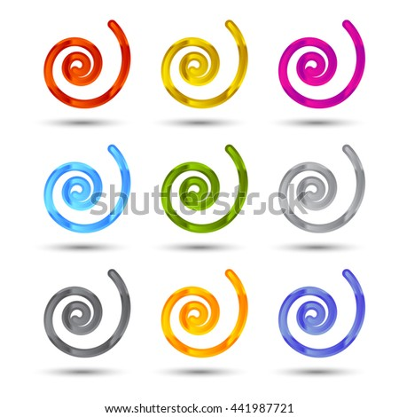 Set of spiral and swirls icons