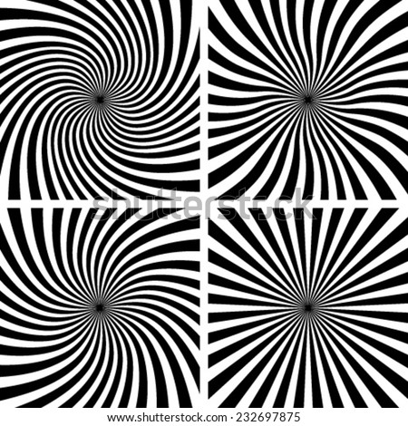 Set of Spiral backgrounds. Vector illustration - stock vector