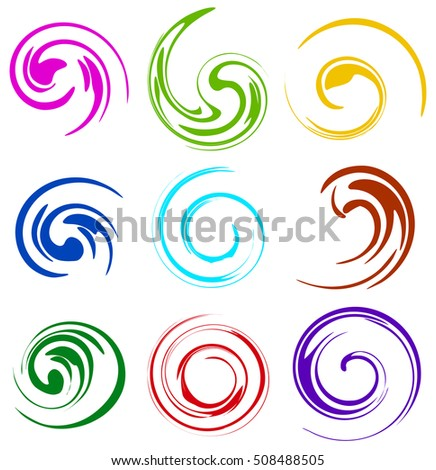 Set of spiral, swooshes. 9 different version.