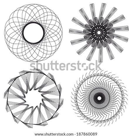 Set of spirograph for design (4 elements) - vector illustration - stock vector