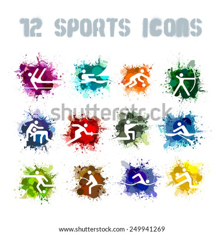 Set of 12 Splatter vector sports icons Olympic Games 1980 in Moscow background design banner - stock vector