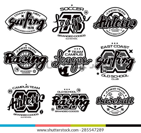 Set of sport badges: surfing, racing, baseball, soccer, rugby. Graphic design for t-shirt. Black print on white background - stock vector