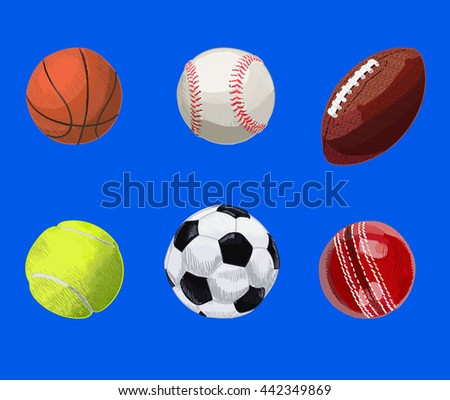 Set of sport balls. Hand drawn VECTOR illustration on blue. Basketball, baseball, rugby ball, tennis ball, soccer ball, cricket ball.