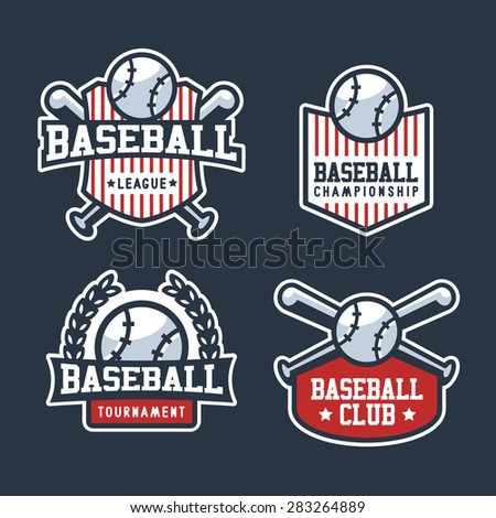 Set Of Sport Baseball Badge Logo Templates, T-Shirt Graphics - stock vector