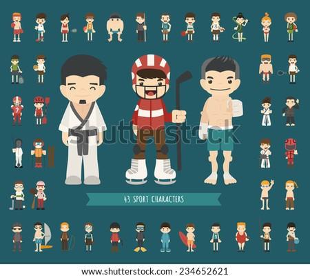 Set of 43 Sport characters , eps10 vector format - stock vector