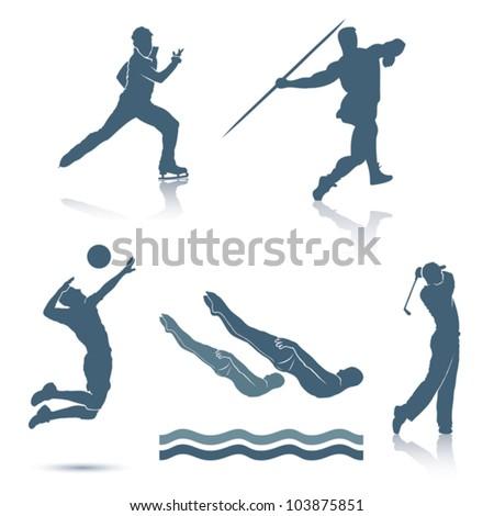 Set of sport disciplines - vector illustration - stock vector