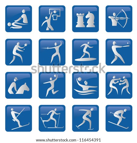 Set of sport, fitness, blue icons.Vector illustration.