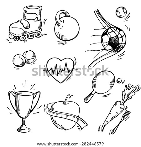 Set of sport icon. Pen sketch converted to vectors. - stock vector