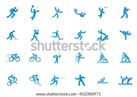 Set of sport icons on a white background