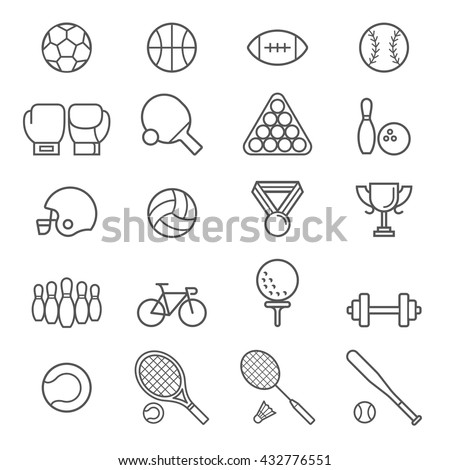 Set of sport icons. Vector Illustrations. - stock vector