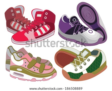 set of sport shoes (vector illustration) - stock vector