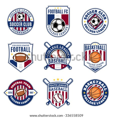 Set of sport team logo templates. Soccer, football, baseball, basketball labels with sample text. Sport icons for sport tournaments, organizations and apparel. Sport team identity. - stock vector