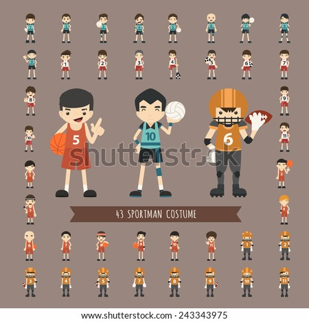Set of 43  sportman costume characters , eps10 vector format - stock vector