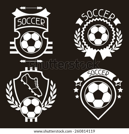 Set of sports badges and labels with soccer football symbols.