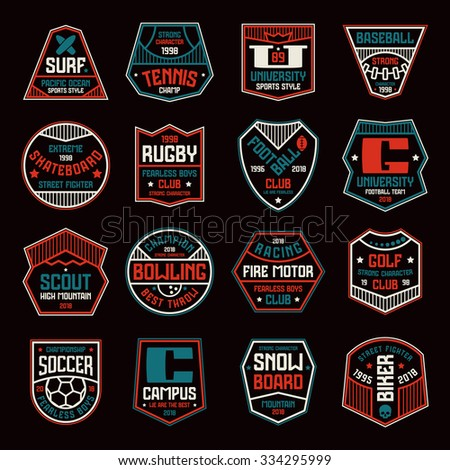 Set of sports badges. Soccer, bowling, baseball, tennis and other. Color print on black background - stock vector