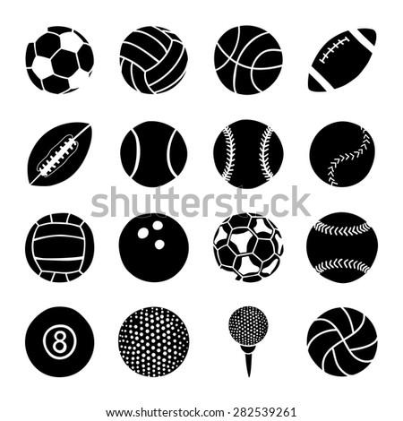 set of sports balls - stock vector