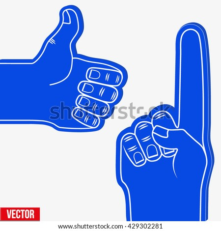 Set of Sports Blue Fans holding Foam Fingers. Up and like. Vector Illustration Isolated on white background.