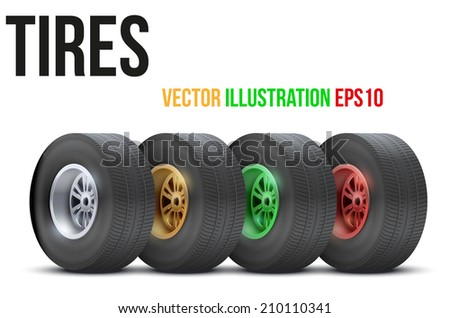 Set of sports car colorful wheels. Vector illustration isolated on white background - stock vector