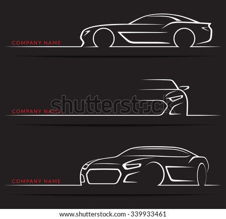 Set of sports car silhouettes isolated on black background. Front, 3/4 and side views. Vector illustration - stock vector