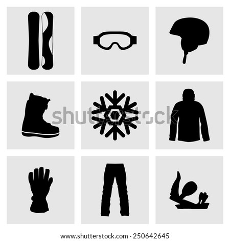 Set of sports icons. Active sports, health, weight loss, diet. Snowboard, helmet, snowflake, winter, sunglasses, shoes, jacket, pants, gloves .Extreme theme, winter games, outdoors adventure.  - stock vector