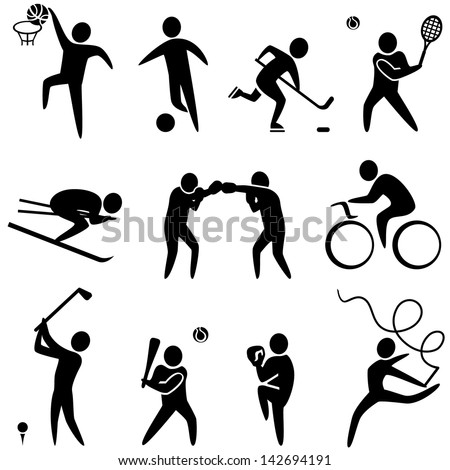 Set of sports icons: basketball, soccer, hockey, tennis, skiing, boxing, wrestling, cycling, golf, baseball, gymnastics. Vector illustration - stock vector