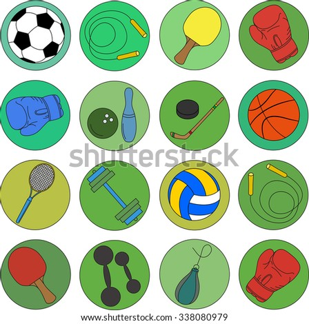 set of sports icons on a green background