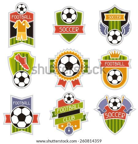 Set of sports illustrations soccer football stylized badges. - stock vector