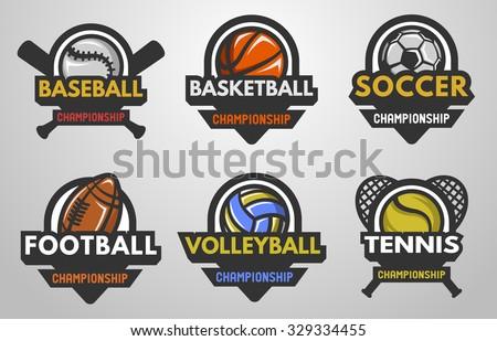 Set of sports logos Baseball, Basketball, Football, Soccer, Volleyball, Tennis. - stock vector