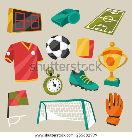 Set of sports soccer football symbols in cartoon style. - stock vector