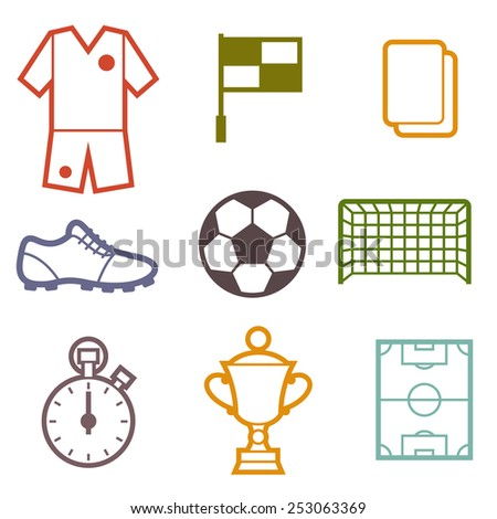 Set of sports soccer football symbols in flat style. - stock vector