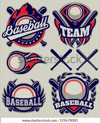 set of sports template with ball and bats for baseball - stock vector