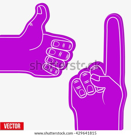 Set of Sports Violet Fans holding Foam Fingers. Up and like. Vector Illustration Isolated on white background.