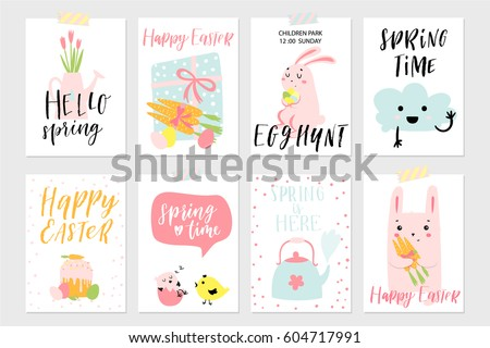 Set spring easter gift cards posters stock vector 604717991 set of spring and easter gift cards and posters with cute cartoon characters signs and negle Choice Image