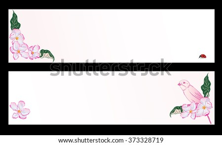 set of spring banners with apple flowers, bird and ladybird (EPS 10) - stock vector