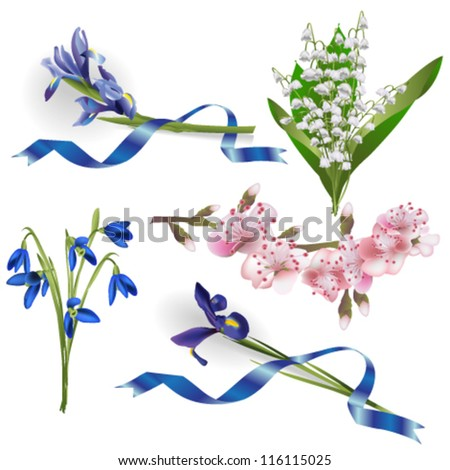 Set of spring flowers for design purposes. Fully editable vector. - stock vector