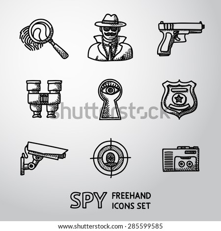 Set of Spy handdrawn icons - fingerprint, spy, gun, binocular, eye in keyhole, badge, surveillance camera, rear sight, dictaphone. Vector - stock vector