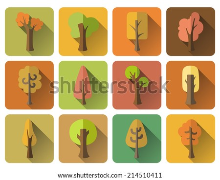 Set of 12 square autumn icons with long flat shadow. Various trees for your design. Isolated on white background.