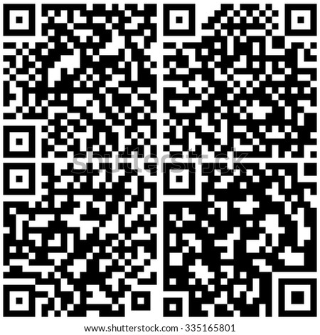 Set of square barcode, digital code, vector