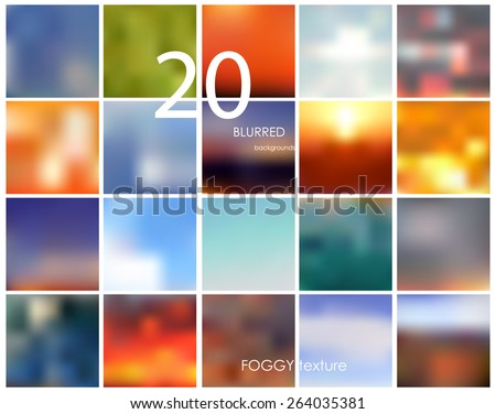 Set of 20 square blurred backgrounds. Vector eps10. Set No.9 - stock vector