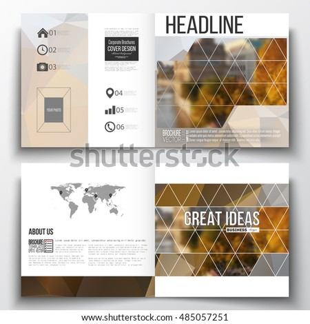 Set of square design brochure template. Polygonal background, blurred image, urban landscape, cityscape, modern stylish triangular vector texture