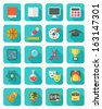 Set of square flat education icons with long shadows - stock vector