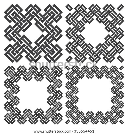 Set of square frames, rectangular patterns. 4 decorative elements for design with stripes braiding borders. Black lines on white background. - stock vector