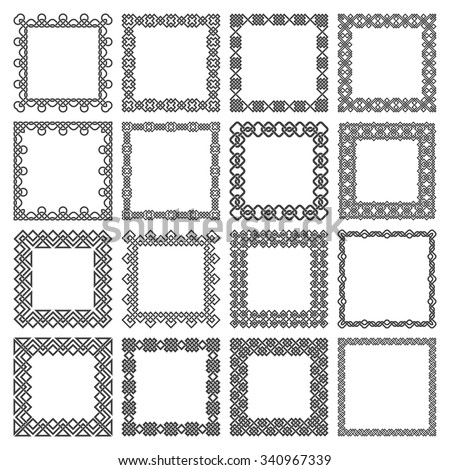 Set of square frames. Rectangular patterns. Sixteen decorative elements for design with entwined strips borders. Squares of black lines on white background. - stock vector