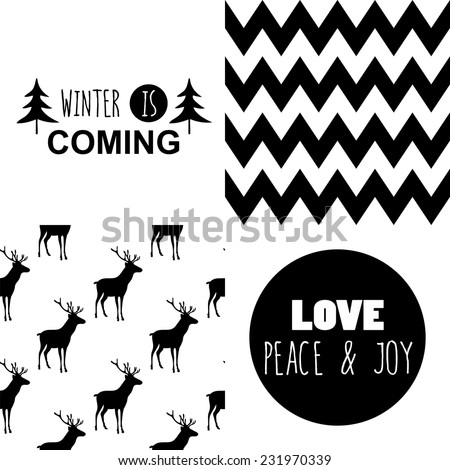 Set of square greeting cards and patterns with Christmas and New Year Calligraphic And Typographic Background. Greeting stylish illustration of winter wishes. Good for design, cards or posters. - stock vector